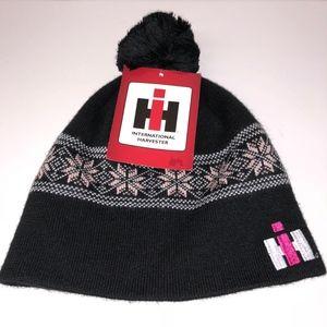 HI Harvester International Black Pink Winter Hat